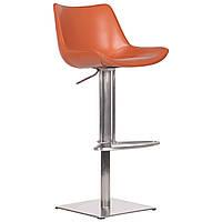 Барний стілець AMF Carner, caramel leather, з підйомним механізмом нержавіюча сталь шкіра натуральна