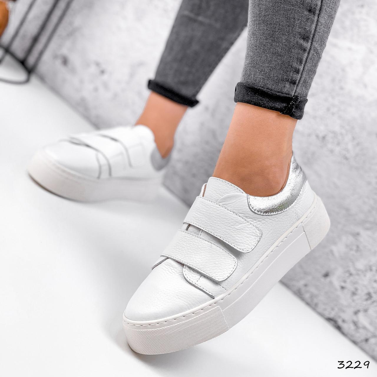 Кросівки жіночі Lena білі + срібло 3229