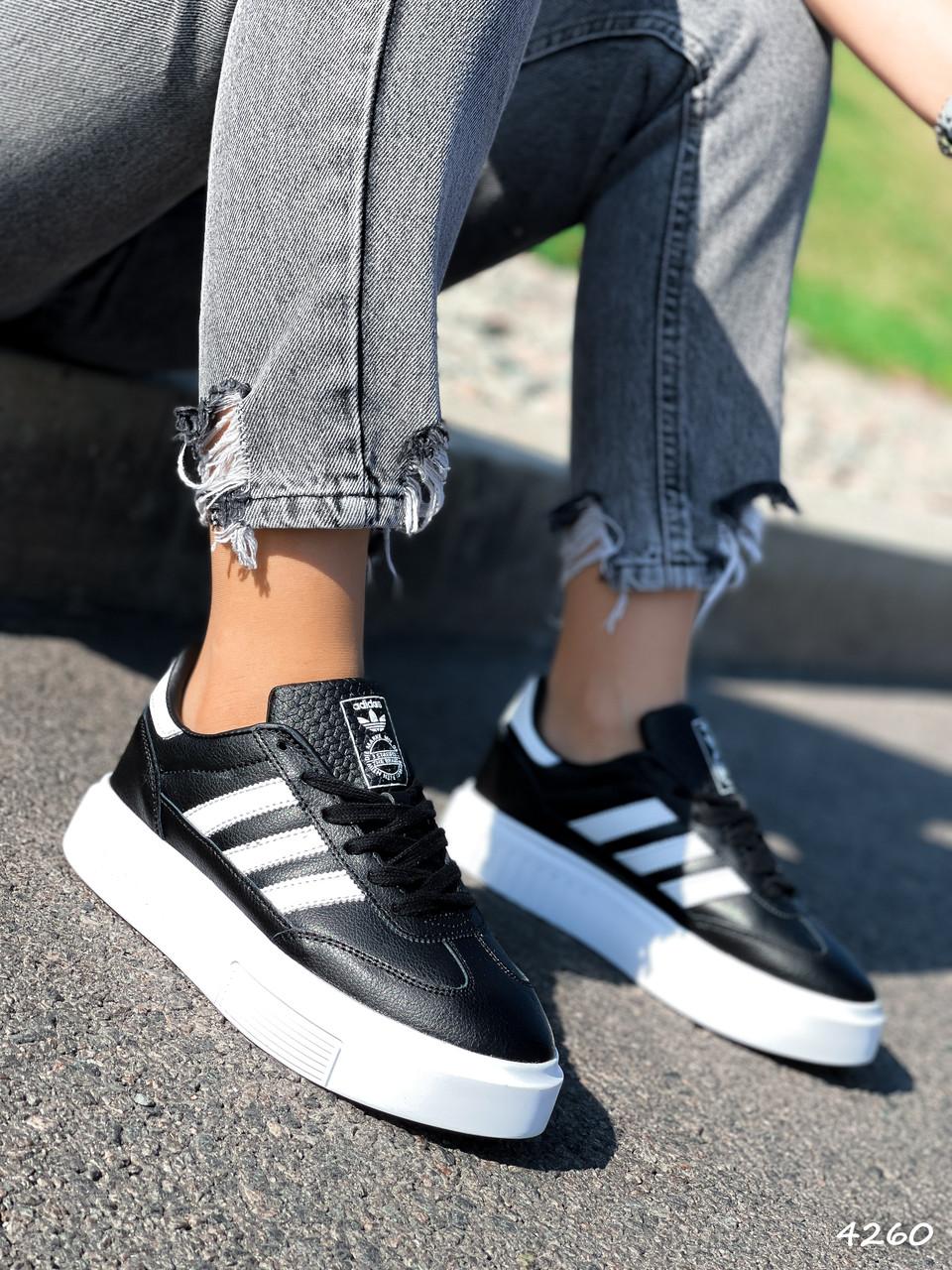 Кроссовки женские Adis черные + белый 4260