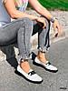 Туфли лоферы Mina белые + черный 4316, фото 4