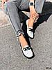 Туфли лоферы Mina белые + черный 4316, фото 5