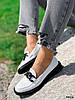 Туфли лоферы Mina белые + черный 4316, фото 6