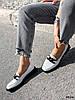 Туфли лоферы Mina белые + черный 4316, фото 8