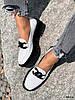 Туфли лоферы Mina белые + черный 4316, фото 10