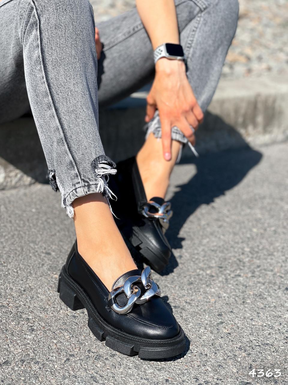 Туфлі-броги жіночі Gesmí чорні 4363 шкіра