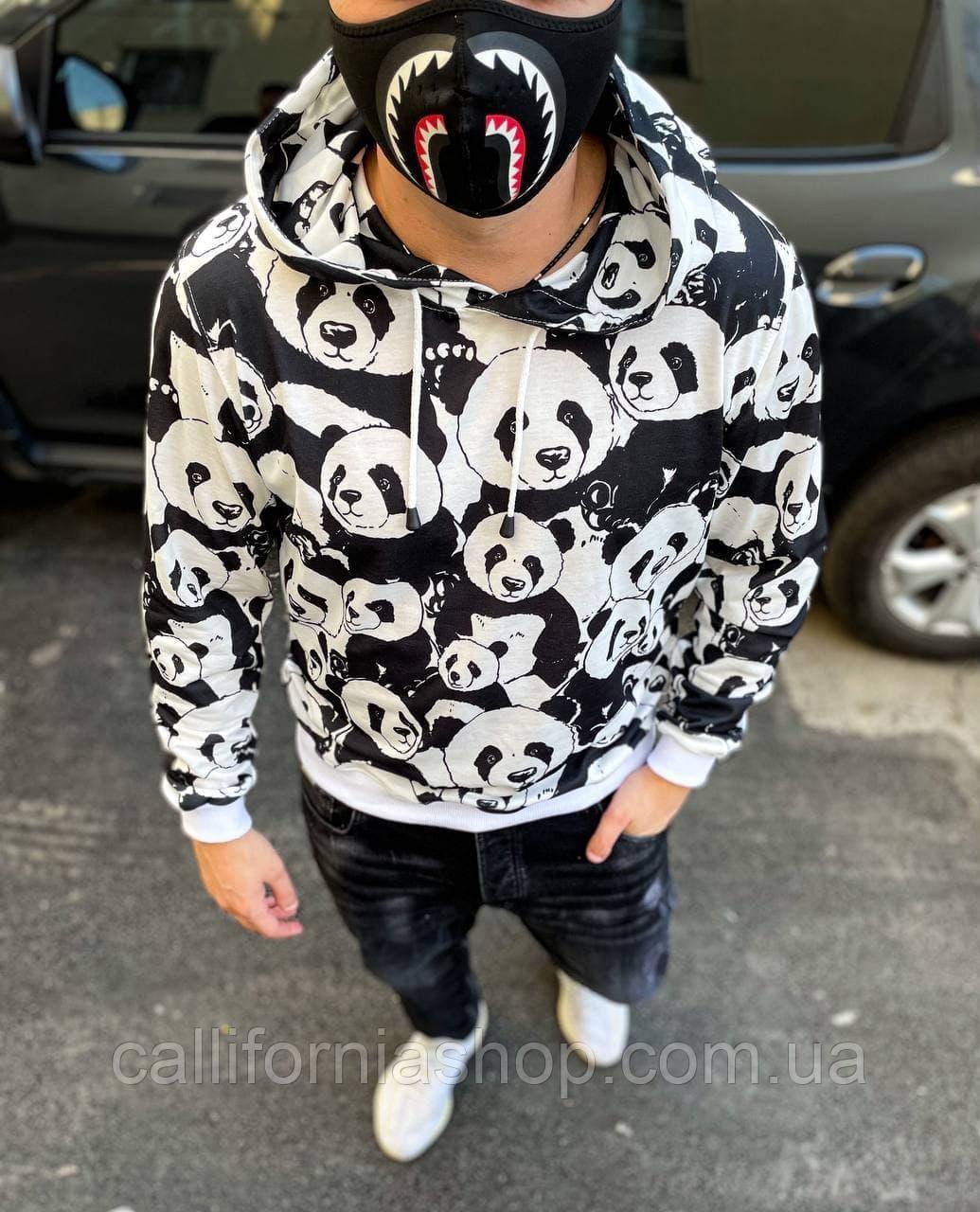 Худи  с пандами оригинальный с капюшоном черно-белого цвета