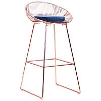 Металевий барний стілець лофт AMF Chik, rose gold, royal blue каркас золото