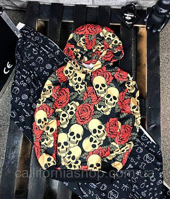 Худі чоловічий чорний з оригінальним принтом череп і троянди з капюшоном