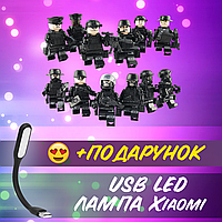 Фигурки 21 сват SWAT военные армия BrickArms аналог лего Lego конструктор солдати спецназ+ USB лампа