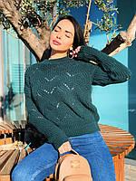 Стильний в'язаний светр з ажурним малюнком