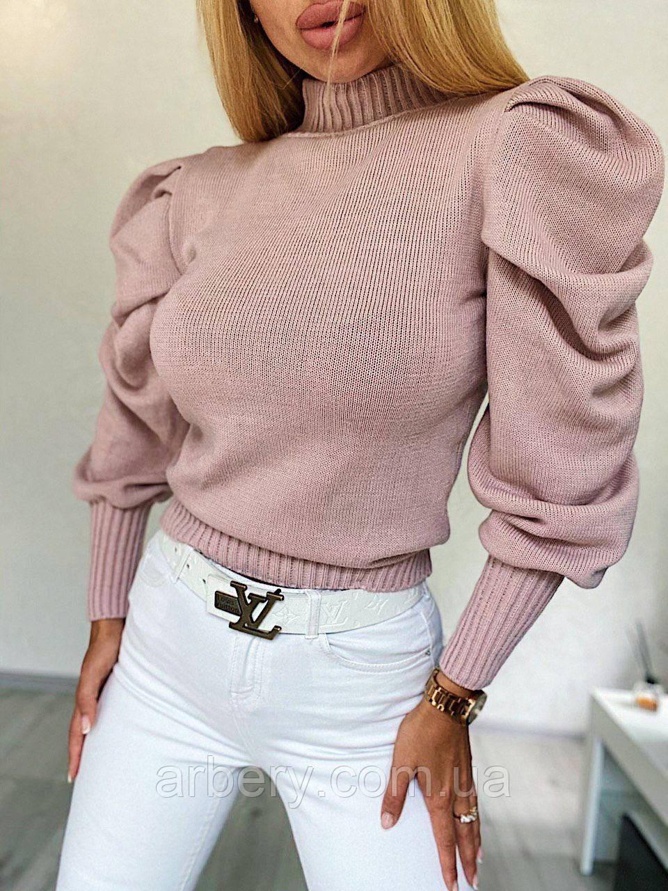 Нежный свитерок из шерстяной пряжи с объемными рукавами