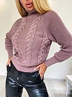 Стильний в'язаний светр з об'ємними рукавами