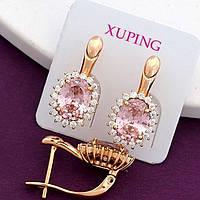 Сережки Xuping позолота 18К довжина 1.9 см ширина 14мм с1127, фото 1