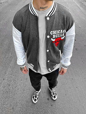 Чоловік бомбер сірий з білим Chicago Bulls Чикаго Буллз на кнопках