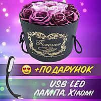 Подарочный ФИОЛЕТОВЫЙ набор мыла из роз в шляпной коробке Мыльные цветы+ USB лампа