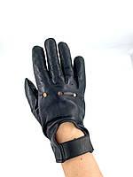 Кожаные мужские перчатки для вождения черные AL3015, фото 1