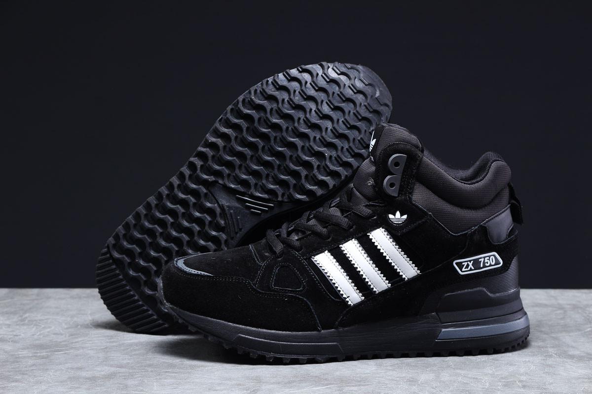 Зимние мужские кроссовки 31365, Adidas ZX 750 (мех), черные [ нет в наличии ] р.(41-26,5см)