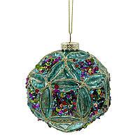 Новогодний шар Novogod'ko, стекло, 10 см, ярко-голубой, глянец, орнамент