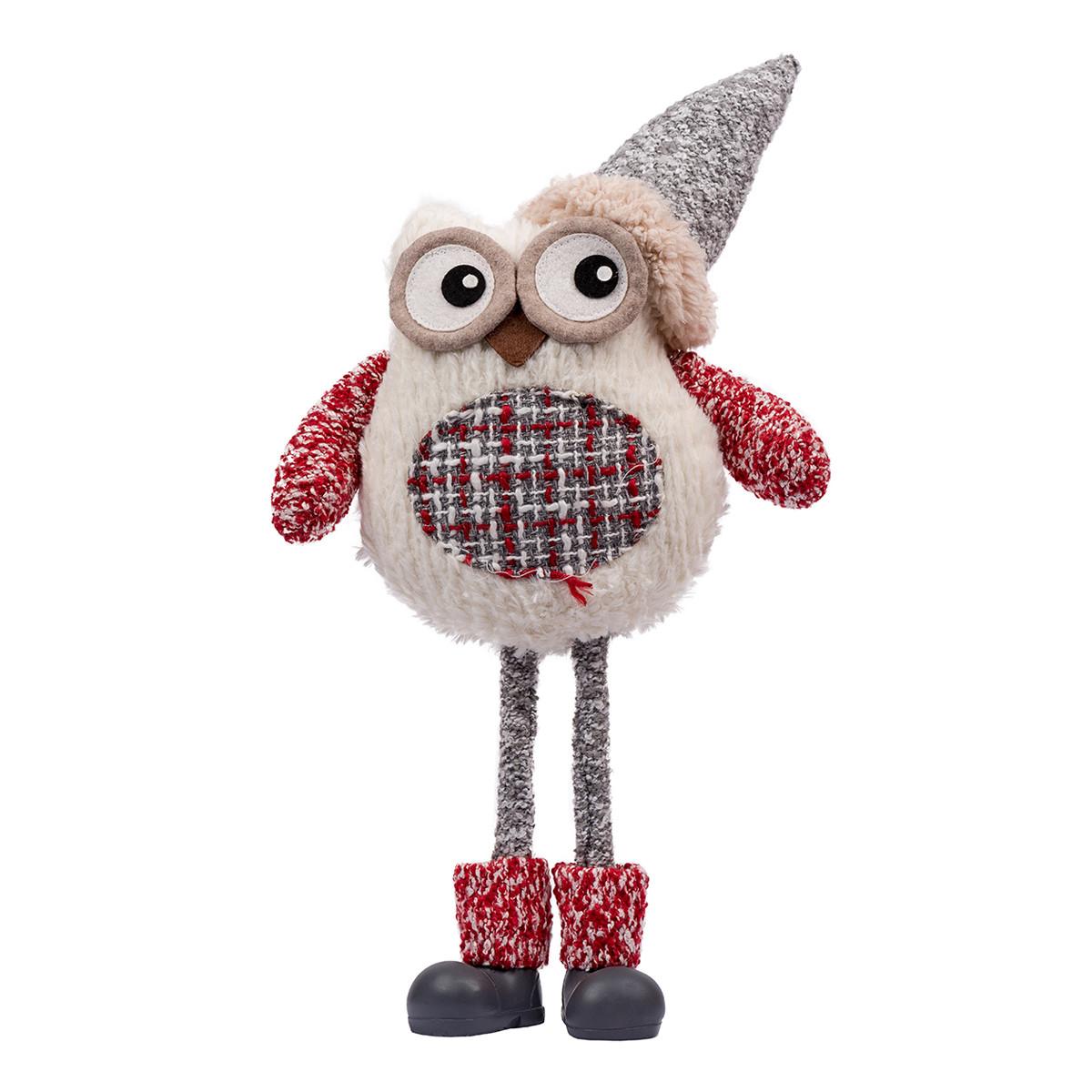 Новогодняя мягкая игрушка Novogod'ko «Сова в колпачке», 42 см