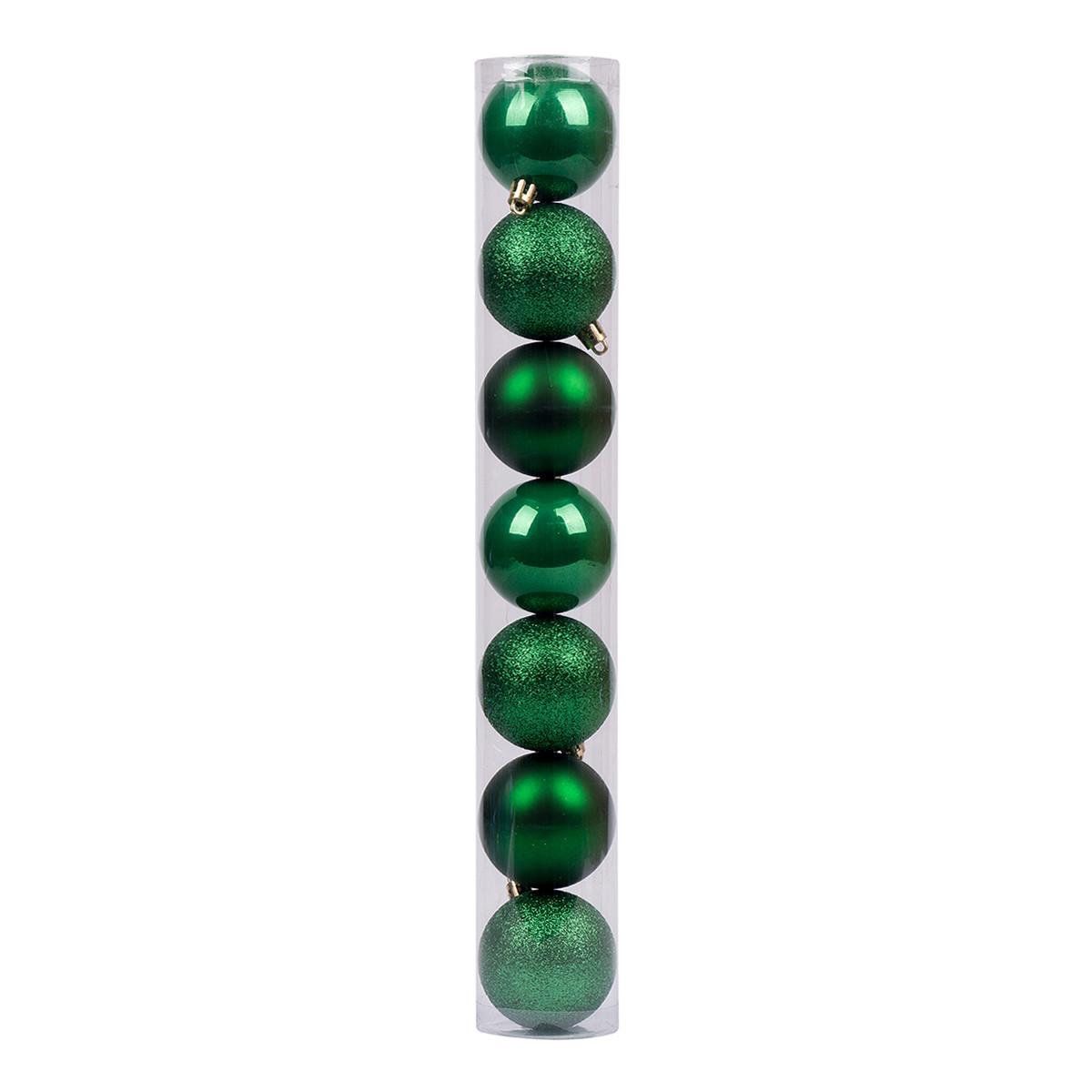 Набір новорічних куль Novogod'ko, пластик, 6 см, 7 шт/уп, зелений