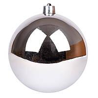 Новогодний шар Novogod'ko, пластик, 15 cм, серебро, глянец