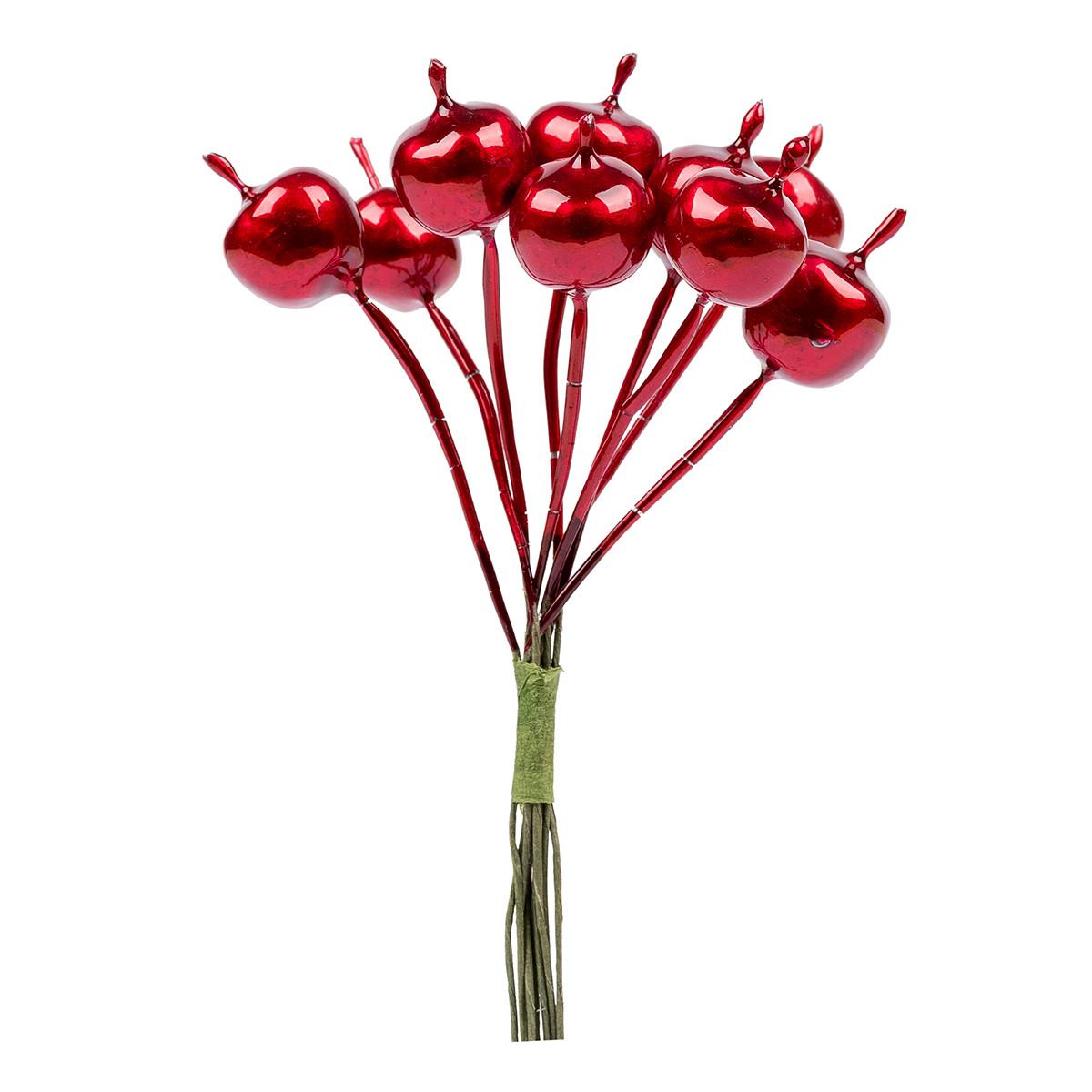 Яблоки декоративные Yes! Fun 15 мм, 9 шт/пучок,  красные, перламутр