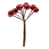 Ягоди декоративні Yes! Fun 12мм, 9шт/пучок, червоний, перламутр