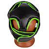 Боксерский шлем тренировочный PowerPlay 3100 PU Черно-зеленый XS, фото 5