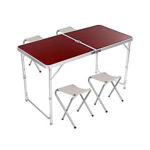 Стол и стулья Easy Campi 1+4 120х60х70см Темное дерево №2 5464 (складной, для пикника)