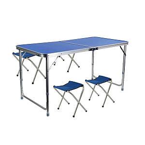 Стол и стулья Easy Campi 1+4 120х60х70см Синий 7200 (складной, для пикника)