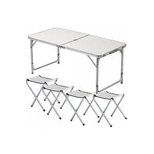Стол и стулья Easy Campi 1+4 120х60х70см Белый №6 5363 (складной, для пикника)