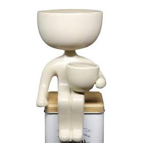 Кашпо Пришелец 21х10,5 см бежевая декоративная подставка керамика