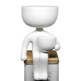 Кашпо Пришелец 21х10,5 см белая декоративная подставка керамика