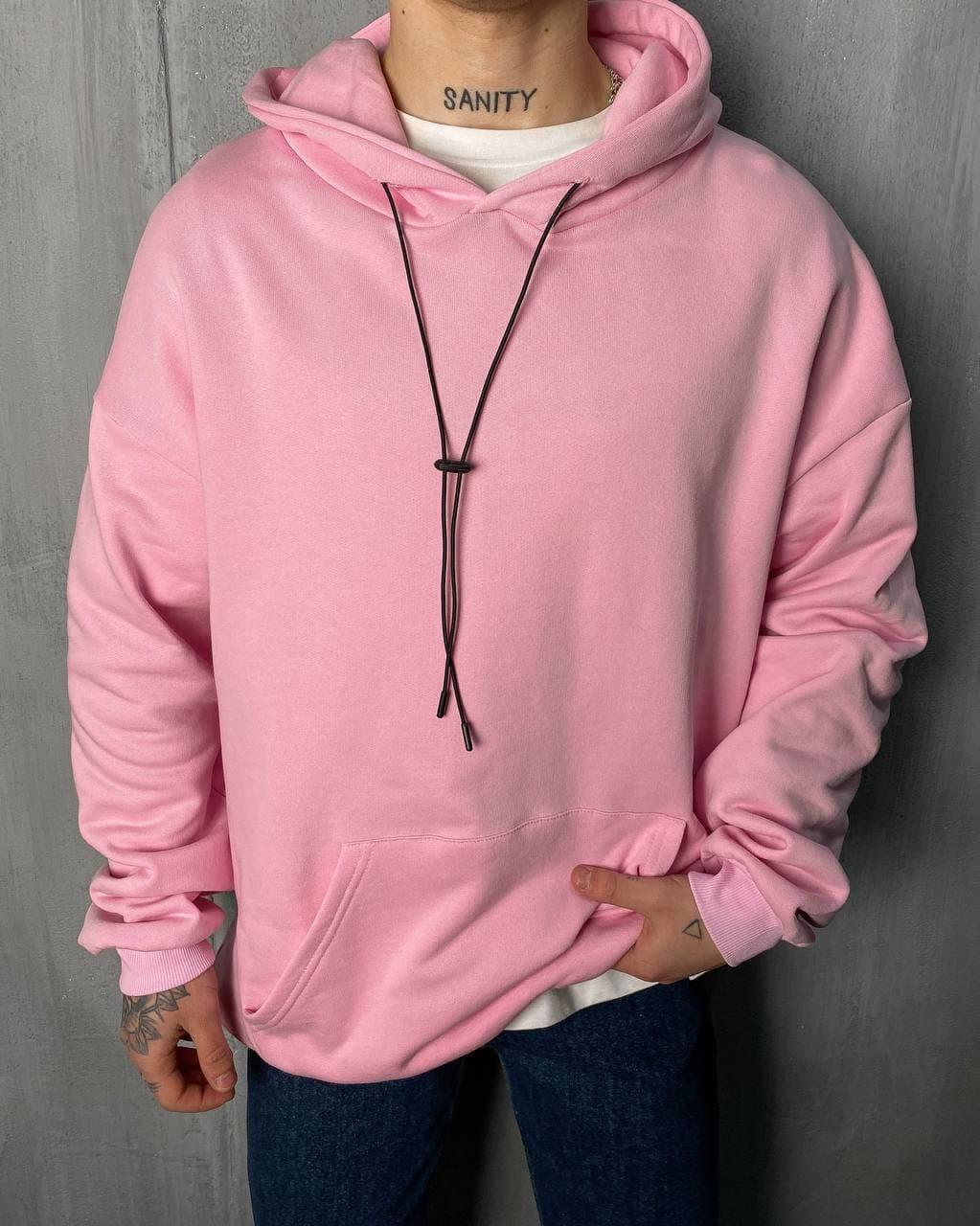 Худі - чоловіча худі стильна / чоловіча худі бавовна оверсайз рожева