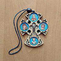 Підвіска на дзеркало хрест з ликами святих