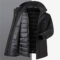 Мужская зимняя удлинённая куртка с подстёжкой с термоволокном, очень тёплая, чёрная. РАЗМЕРЫ 46-52, фото 1