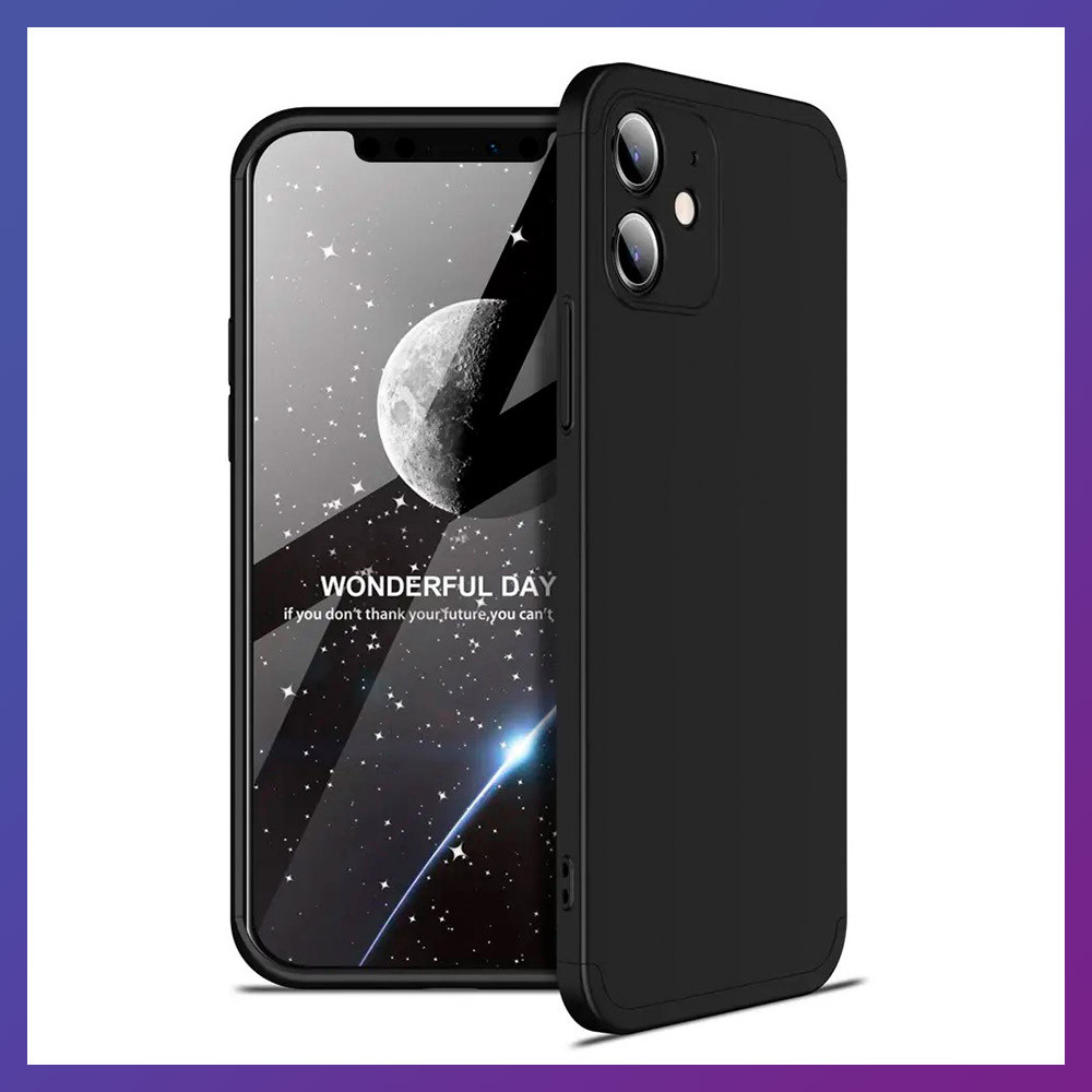 3D Чохол бампер 360° Iphone 12 протиударний + СКЛО В ПОДАРУНОК. Чохол айфон 12 КОЛІР чорний