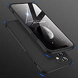 3D Чохол бампер 360° Iphone 12 протиударний + СКЛО В ПОДАРУНОК. Чохол айфон 12 КОЛІР чорний, фото 4
