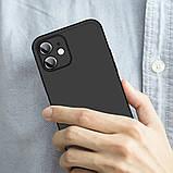 3D Чохол бампер 360° Iphone 12 протиударний + СКЛО В ПОДАРУНОК. Чохол айфон 12 КОЛІР чорний, фото 6