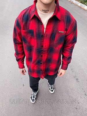 Рубашка мужская байковая красная в клетку теплая
