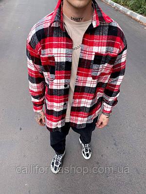Рубашка мужская байковая в клетку цвет красный с черным