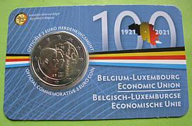 Бельгия 2 евро 2021 г. 100-летие Бельгийско-Люксембургского экономического союза