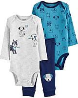 Симпатичний комплект - два боді та штанці Собачки Картерс для хлопчика