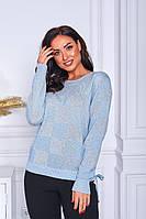 Нежный женский вязаный свитер с люрексом, фото 1