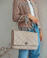 Бежевая сумка через плечо женская кросс боди сумка папка для документов ноутбука стеганая сумочка клатч А4, фото 1