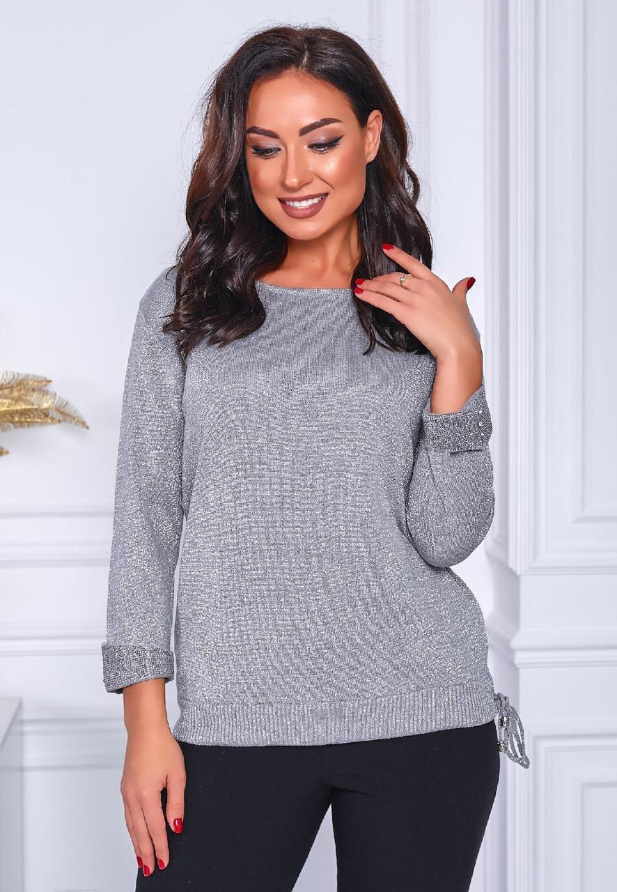 Ніжний жіночий в'язаний светр з люрексом