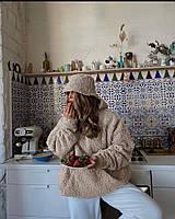 Теплый супер мягкий и нежный женский худи оверсайз букле барашек бежевый пудра оливка универсальный ( 42-46 )