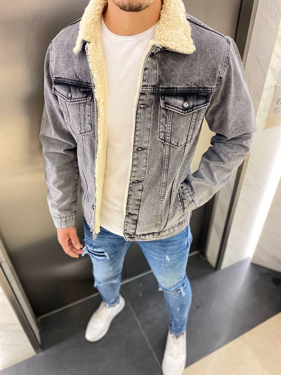 😜 Джинсовка - Мужская куртка джинсовка / стильна чоловіча джинсовка сіра на овчині