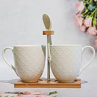 🔥 Распродажа! Набор чашек 380мл с ложками (2 шт) на бамбуковой подставке