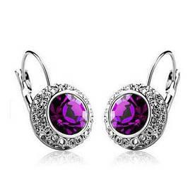 Серьги женские с фиолетовыми камнями код 158